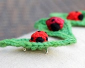 Ladybug On Leaf Hand Crochet Pin/Hair Clip/Brooch.Red and Green Fiber Accessory. Textile Insect Bug with Merino Yarn. EvelynWpolitzerKnits.