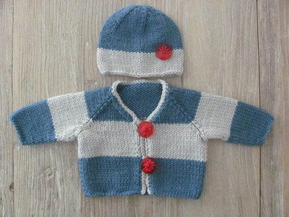 Clearance Item///Hand Knit Baby V-Neck Cardigan and Hat Set in Blue & Linen Grey with Red Vintage Buttons (0-3 months)///READY TO SHIP///