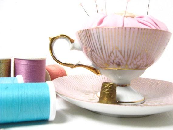 Pink Vintage Teacup Pincushion - Very Sweet Gift
