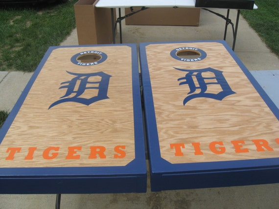 Detroit Tigers Cornhole Boards And Bags By Custombackyardgames