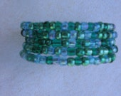 Shades of Green Mix Seed Bead Memory Wire Bracelet