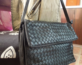 Authentic Vintage BOTTEGA VENETA Black Woven Leather Double Strap Flap Bag