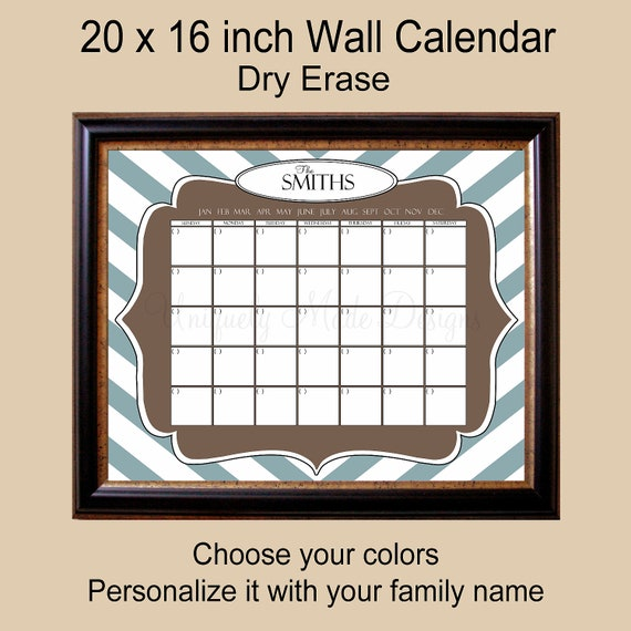 Personalized Dry Erase Wall Calendar 16 X By