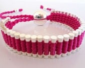 SAVE 25% Link Friendship Bracelet  Silver Plated Hot pInk Thread (Similar to Links of London)