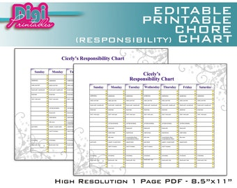 "Editable / Printable Chore Chart Responsibility Chart - 8.5""x11"" PDF - Instant DOWNLOAD"