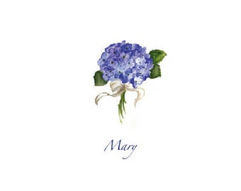 Personalized Stationery Hydrangea Note Cards