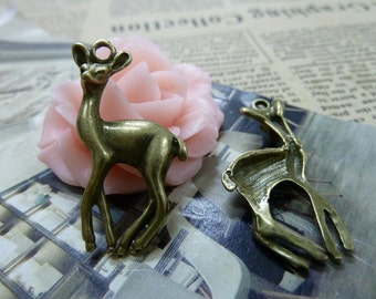 20PCS antique bronze 22x34mm deer charm pendant- W1533