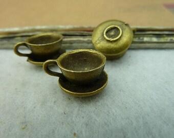 10PCS antique bronze10x12x16mm coffee cup charm pendant- WC3245