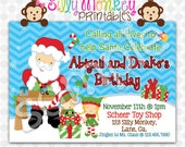 Santa's Little Helpers party invitation or thank you card DIY- 366