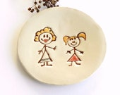 Mothers Day Ceramic Plate Mom Daughter Pottery Dish Happy Family Pottery Ring Holder