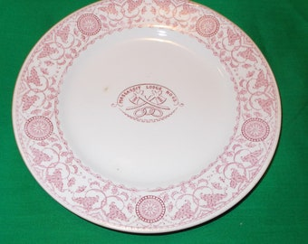 """One (1), Victorian  6 3/4"""" Salad Plate, Massasoit Lodge No. 69, (Brockton, MA) of the I.O.O.F.,in the Creswell Pattern, by J & G Meakin."""