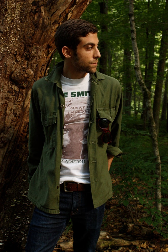 Reserved for MJ - Vintage Unisex Army Green Button Down Shirt Jacket