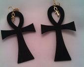 Big Ankh Little Ankh Wooden Earrings