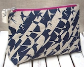 Blue bird print make up bag