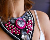 Statement Necklace Colourjam Embroidery Black Pink White Silver Ready to ship