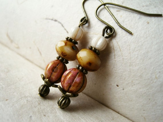 Antique Rose Earrings. Victorian Earrings with Berry and Cream Picasso Beads & Opaque Cream Glass. Antique Brass Accents. Fall Fashion.
