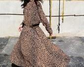 """Vintage Wild Rose Leopard Dress """"Gilda"""" 40% Off at Checkout"""