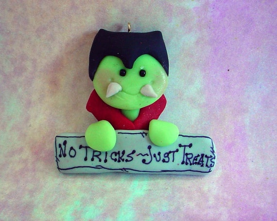 Polymer Clay Halloween Ornament Pin Brooch Magnet Dracula Vampire