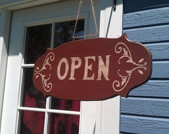 """Hand crafted, vintage 2-sided """"OPEN/CLOSED"""" sign"""