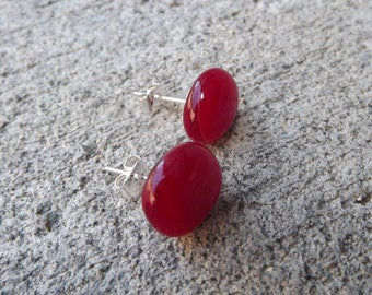 Red Fused Glass Stud Earrings