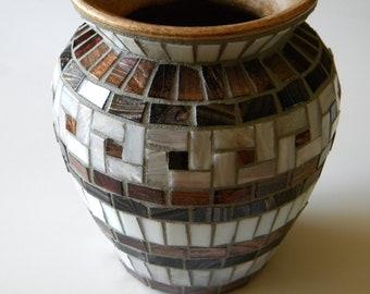Classic Copper & White Mosaic Vase