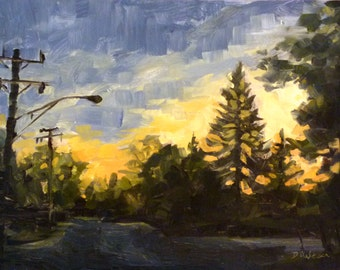 Oil Painting of a Streetlight at Sunset