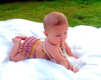 Newborn Fancy Crochet Diaper Cover with Ruffle Bottom, Gold and Rose Diaper Cover, Crochet Baby Prop