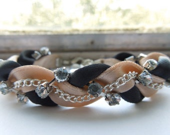 Black and Khaki Braided Ribbon & Chain Bracelet