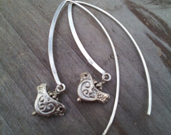 sterling bird: hoops, Sterling Silver, Hoop earrings, birthday gift, unique gift, new mom gift, mom to be jewelry