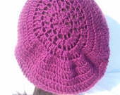 Crochet  Purple Slouchy Hat, Purple Hat, Tam, Beret FREE SHIPPING