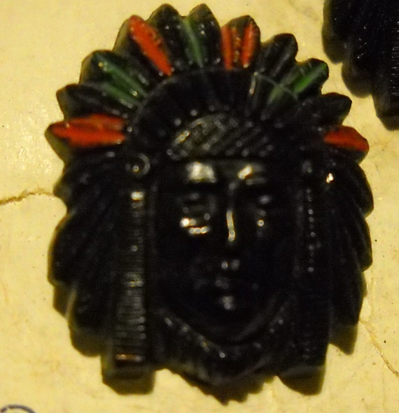 Indian Chief s Head Buttons set of 4  Bakelite price reduced