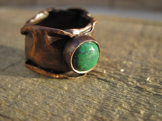 Copper and Turquoise Ring- Hammered Ring Womans Size 9.5-10