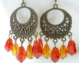 Chandelier earrings red and orange drop crystal dangle brass filigree vintage style