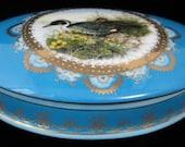 French Blue Mallard Ducks Box Porcelain 1930s Gold Overlay Vanity Jewelry
