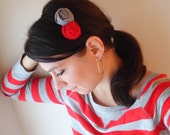 Ohio State Buckeyes scarlet red grey fashion rolled fabric flower rose hair clip metal headband accessory football fan gift for her hairband
