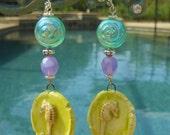 COLORFUL Summer Fun Seahorses Porcelain Earrings