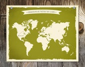 World map Custom Wedding Print Destination Wedding Gift Memento Couple Guest Books Wedding Signature Wherever We Are Together That is Home