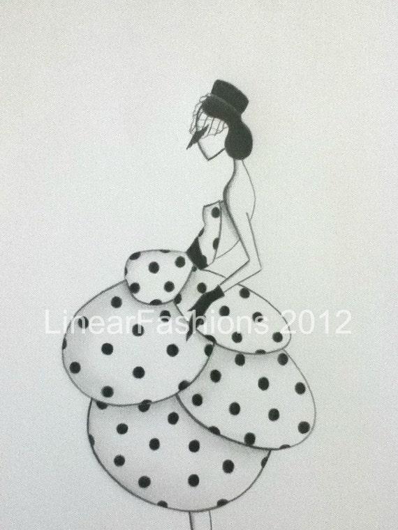 RESERVED Fashion Art Illustration 1950s Polk a Dot Party Dress Decor
