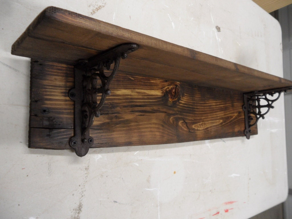 Rustic barnwood style shelf primitive wall shelf decorative