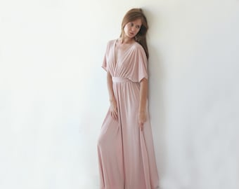 Pink maxi dress with bat wings sleeves , Bridesmaids maxi Pink dress 1002