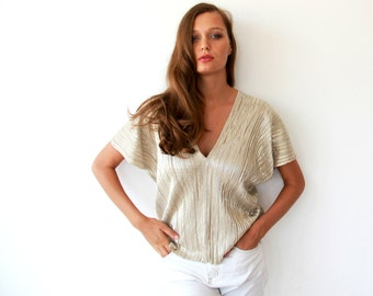 Pleated gold shirt, Metallic gold blouse, V neck metallic top