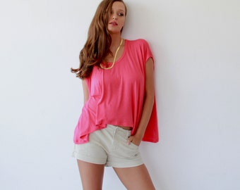 Boxy summer coral top , Summer short top 2003
