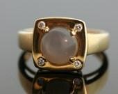 Vintage Grey Star Sapphire and Diamond Ring