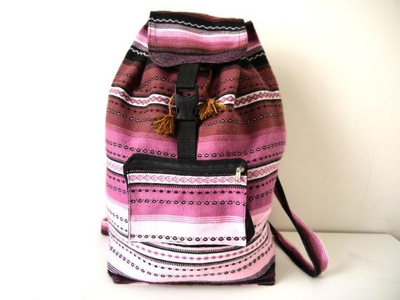 Tribal Fabric Backpack, Latin American, Peru, Purple Ombre Stripes