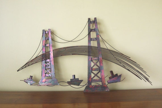 Metal Wall Art Golden Gate Bridge Sculpture Mid Century Modern Wall