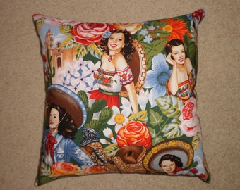 mexican senorita cushion cover 45cm x 45cm 100% cotton hand made