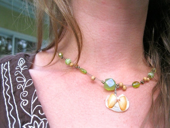 Unique beach art, natural and summery: Green floating beads and butterfly coquina shell necklace
