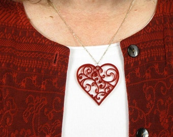 """Red Heart Pendant for Necklaces Translucent Red """"Stained Glass"""" Acrylic Hearts with Gift Box"""