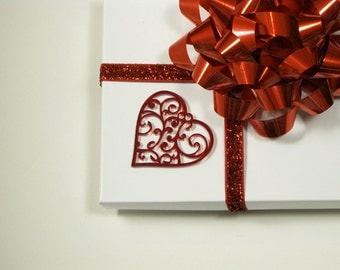 """Wedding Day Heart Decorations Translucent Red """"Stained Glass"""" Acrylic Hearts with Gift Box"""