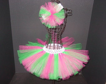 TuTu Skirt and Headband Two Piece Set Newborn to 6 Months Baby Infant CUSTOM Hot Pink & Green